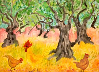 Chickens in the Olive Grove