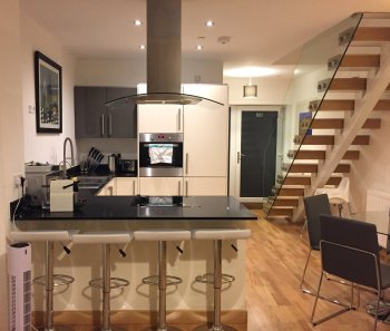 The open plan kitchen and dining room