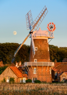 Harvest Moon at Cley Mill Sunset