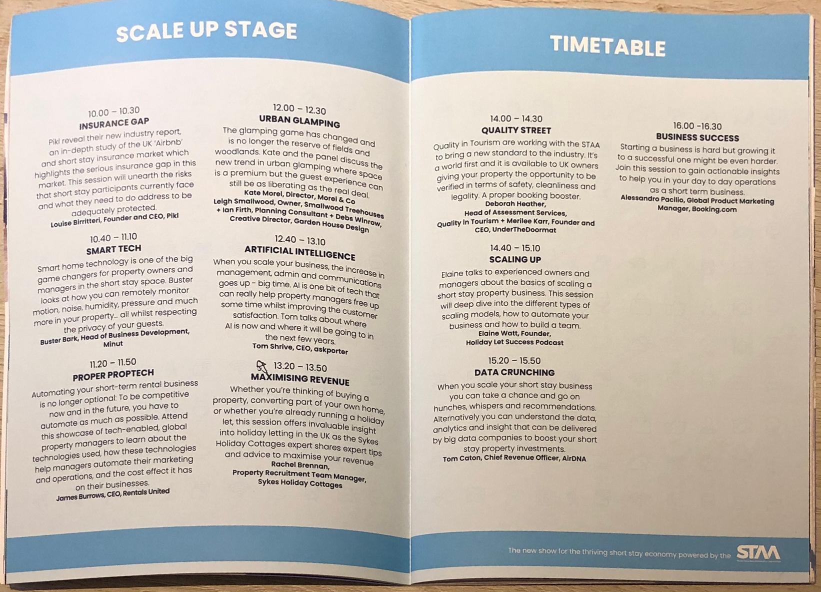talk timetable